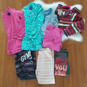 Girls lot of long sleeve tops and leggings sz 5-6